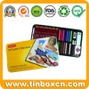 Colored Pencil Tin Case for Pastel Collection, Metal Stationery Box
