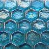 Sea Blue Hexagon Gemstone Glass Tile