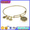 Antique Gold Custom Charm Wire Adjustable Bracelet