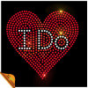 Cheap High Quality Heart with Letter I Do Rhinestone Motif Factory (SP)