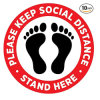 Custom Size Round Social Distancing Sign Floor Decals with Footprint Grphic