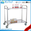 Stainless Steel Small Size 2 Tiers Square Tube Mirror Polishing Food or Tea Serving Trolley with 4 Wheels