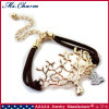 Gold Plated Tree Crystal Bird Charms Jewelry Double Leather Bracelet
