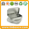 Rectangle Mini Metal Silver Tin Box Hinged with Plain Printing