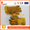 Yellow Cow Split Leather Gloves with Patch Palm Yellow Cotton Drill Back Rubberized Cuff