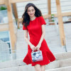 Wedding Show Thin Star Style Lotus Leaf Short Sleeve Red Lady Clothes
