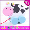 Kids Good Friend Wooden Lovely Cow Pull Along Toy, Cute Wooden Cow Shape Pulling Along Game for Toddlers W05b114