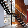Stainless Steel Glass Balustrade Staircase with Wooden Tread