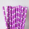 Purple Color Heart Printing Paper Straws for Valentine′s Day