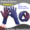 7g Blue Acrylic Fiber Knitted Glove with Red Silicon-Gel Dots