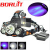 5000lm 3 LED Xml T6 +2 R5 UV Purple Light Headlamp 3 Mode UV Headlight for Bicycle Hunting