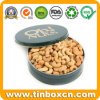 Food Grade Customized Round Metal Storage Box Cashew Nut Tin