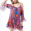 Fashion Women Leisure Chiffon Color Stripe Bandage off Shoulder Dress