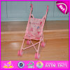 2015 Wooden Baby Doll Pram, Kids Toy Import Girls Doll Pram Toy, Push Baby Doll Stroller Toy, Pink Cute Doll Pram Wheels W06b032
