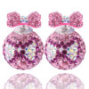 Lady Elegant Double Sided Bow Tie Crystal Ball Earrings Gift