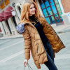 Winter Coat with Heavy Overcoat and Long Wool Collar