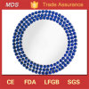 Wholesale Mirrored Glass Service Charger Plates with Blue Beads