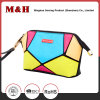 Multi-Color Row Pattern Portable PU Cosmetic Bag Clutch Ladies Makeup Bag