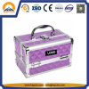 Carrying Diamond Purple Beauty Case Aluminium Box with Trays and Mirror (HB-2038)
