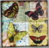 Butterfly Design Square MDF Wooden Paper Decal Wall Decor Plaque
