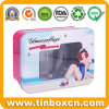 Stylish Rectangular Cosmetic Metal Box Window Tin with Clear PVC Top for Skin Care Cream Makeup Kit