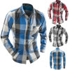 Men′s Flannel Plaid Slim Fit Long Sleeve Sublimation Shirts