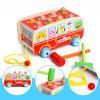 Wooden Bus Car Shape Children Hammering Game Boy Girl Pulling Car Toy Color Shape Cognitive Kids Baby Educational Toy