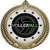 Metal Volleyball Medal with Printed Sticker Iron in Gold Color