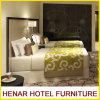 Black Wooden Frame Grey Faux Leather Hotel Bedroom Furniture Set