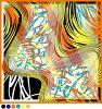 Colorful Fashion Gemotric Pattern Design Silk Satin Scarf
