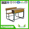Guangzhou Double Wooden Attached School Student Desk Chair Set