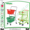 Powder Coated Two Tiers Basket Shopping Trolley Cart