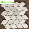 Greece Thassos White Leaf Shaped Water Jet Marble Mosaic Tile