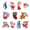 Christmas Patches for Clothes DIY Stripes Iron in Santa Claus Appliques Embroidered Patch Clothing Stickers Embroidery Elk