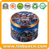 Embossed Christmas Tin Can for Cookies Biscuits Gift Storage Box