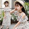 Girls Chiffon Dress Floral Print Shoulder Bohemian Vest Beach Skirt