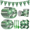 Hawaiian Palm Leaf Disposable Tableware Summer Party Paper Plate Cups Napkin Tropical Wedding Birthday Event Party Decoration Supplies