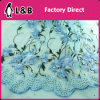 Blue Flower Embroidered Stone Lace Fabric