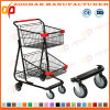 Balck Coated Metal Handing Shopping Carts Trolley (ZHt264)