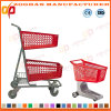Plastic High Quality Two Tier Supermarket Shopping Trolley (ZHt276)
