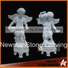 Stone Artwork White Marble Child Angel Statues Picking Fruit in Garden