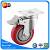4 Inch Total Lock Caster, Red Polyurethane Wheel, Swivel Plate Caster