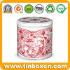 Round Custom Christmas Tin Can for Metal Gift Storage Box