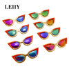 Gold Plated Red Acrylic Multicolored Sunglasses Pin Brooch