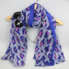 Azo Free Printing Blue Flower Shawls for Women Fashion Accessory Scarf