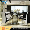 Hotel Furniture Tempered Glass Top Dining Table with Stainless Steel