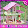 New Products Lovely Girls Pink Wooden Dolls House for Sale W06A165