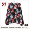 Ladies Fashion Collarless Floral Pattern Shirt T-Shirt