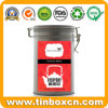 Hinged Airtight Round Tea Tin for Metal Tea Canister Storage