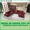 U-Shape Leisure Wooden Sectional Corner Leather Sofa Bed